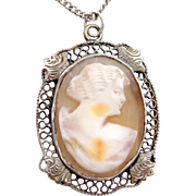 Vintage Sterling Silver Shell Cameo Filigree Necklace