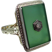 14k Gold Chrysoprase & Diamond Art Deco Filigree Ring