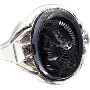 Man's Art Deco Sterling and Carved Black Onyx UNCAS Cameo Ring