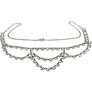 1920s Sterling Silver and Open Back Crystals Art Deco Necklace