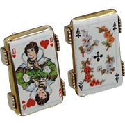 Vintage Porcelain Playing Cards Cufflinks Cuff Links