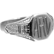 "14k Solid White Gold Art Deco Signet Ring ""ARV"""