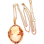 10K Solid Gold Carved Shell Cameo Necklace