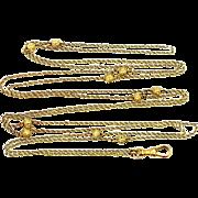 Victorian 14k Gold Muff Chain Lorgnette Watch Chain