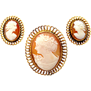 MId Century BOJAR Gold Filled Cameo Pin and Earrings Set