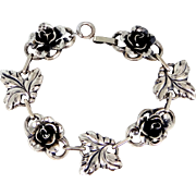 Jewelart Sterling Silver Figural Roses and Leaves Bracelet Circa 1940s