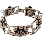 Jewelart Sterling Silver Figural Floral Bracelet Circa 1940s