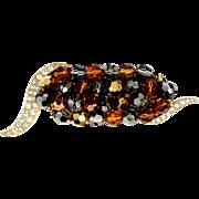 Marvella Bronze and Topaz Glass Beads Pin