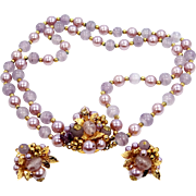 1940's Lavender Glass  plus Pearls Necklace and Earrings