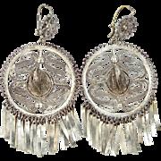 800 Silver Filigree Figural Sombrero Hat Earrings