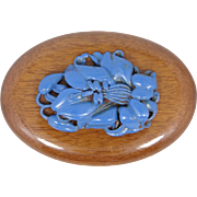1920s Blue Celluloid Wood Pin