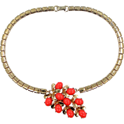 Sterling Vermeil and Faux Coral Necklace