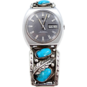 Sterling Silver and Turquoise Artist Signed Watch Band with Hamilton Watch
