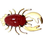 Vintage wRe Richards W. E. Co. Scarab Carnelian Figural Lobster Pin