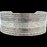 Vintage Solid Sterling Silver Finely Etched Cuff Bracelet
