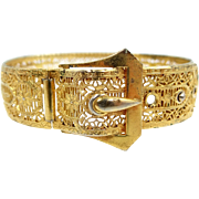 Art Deco Filigree Bangle Bracelet With Hinged Buckle Clasp
