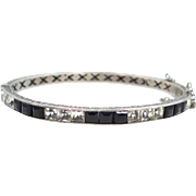 Edwardian Sterling Silver and Princess Cut Black & White Crystals Bangle Bracelet