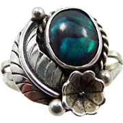 NAKA Navajo Sterling Silver Labradorite Lady's Ring