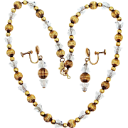 Binder Bros. Gold Filled Crystals Necklace and Matching Earrings