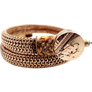 Victorian Rose Gold Filled Memory Wire Etruscan Bracelet