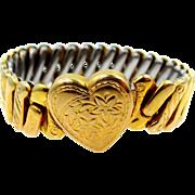 Pretty WWII Era Gold Filled Heart Motif Bracelet