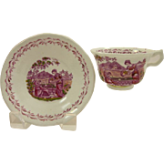 """LUSTERWARE antique c.1820's cup & saucer """"Rebecca at the well"""""""