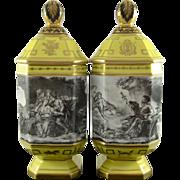 REDUCED LE TALLEC c1957 apothecary jars (2) Grisé à la Manière de Boucher