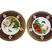BROWN-WESTHEAD, MOORE c1880s two antique plates flowers butterfly B5239 aesthetic