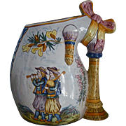 HENRIOT QUIMPER c.1910 signed bagpipe form vase, figural, armorial, antique French faience
