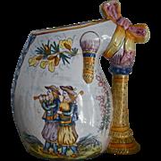 REDUCED HENRIOT QUIMPER c.1910 signed bagpipe form vase, figural, armorial, antique French fai