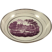 "SILVER LUSTERWARE antique c1815 saucer dish ""Palladian House"" (PAIR)"