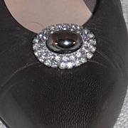 MUSI Shoe Clip – Oval Faux Hematite Surrounded by Black Diamond Rhinestones