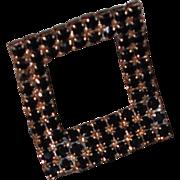 MUSI Jet Black Austrian Crystal Rhinestone Rectangular Stand-up Shoe Clip