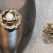 MUSI Metal Rose Shoe Clip with Faux Pearl