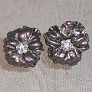 Pewter Leather Flower Clip Earring with Rhinestone Center