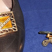 Rectangular MUSI Shoe Clip with Gold Epoxy and Austrian crystal Rhinestones