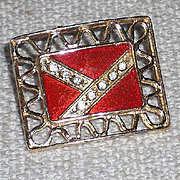 Rectangular MUSI Shoe Clip with Red Epoxy and Austrian crystal Rhinestones