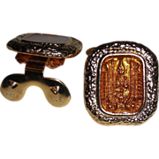 MUSI Shoe Clip - Gold Plated Metal Casting with Golden Topaz Epoxy