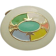 MUSI Shoe Clip - Oval Gold Metal Casting with Multi Colored Enamel