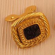 MUSI Square Shoe Clip with Brown Goldstone Sparkly Epoxy