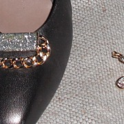 MUSI Shoe Clip – Oval Metal Cast Chain Links with Silver Glitter Epoxy