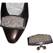 MUSI Shoe Clip with Hand Sewn Silver Lined Clear Seed Beads