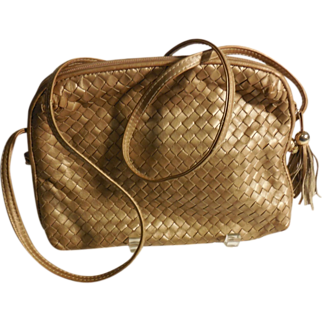 REDUCED Ganson Matte Gold Woven Leather Purse