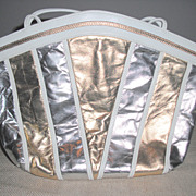 White, Gold and Silver Shoulder/Cross Body Strap Purse