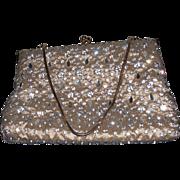 REDUCED Vintage Gold Purse by Pam - Glass Rhinestone Prong Set Purse Handbag