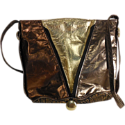 Metallic Multi Leather Shoulder Bag Tote Feedbag Purse