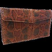 New Unused Clutch Handbag Purse in Rust/Brown/Black Python Snakeskin.