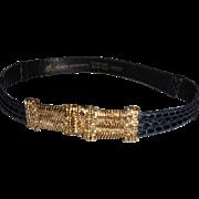 "Morris Moskowitz Woman's Black Adjustable Reptile Belt – 22""-32"""