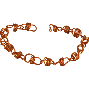 Copper Coiled Bracelet with Self Clasp - 7.5""
