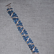 "SOLD Double Strand Sapphire Austrian Crystal Bracelet - 8 "" - Red Tag Sale Item"
